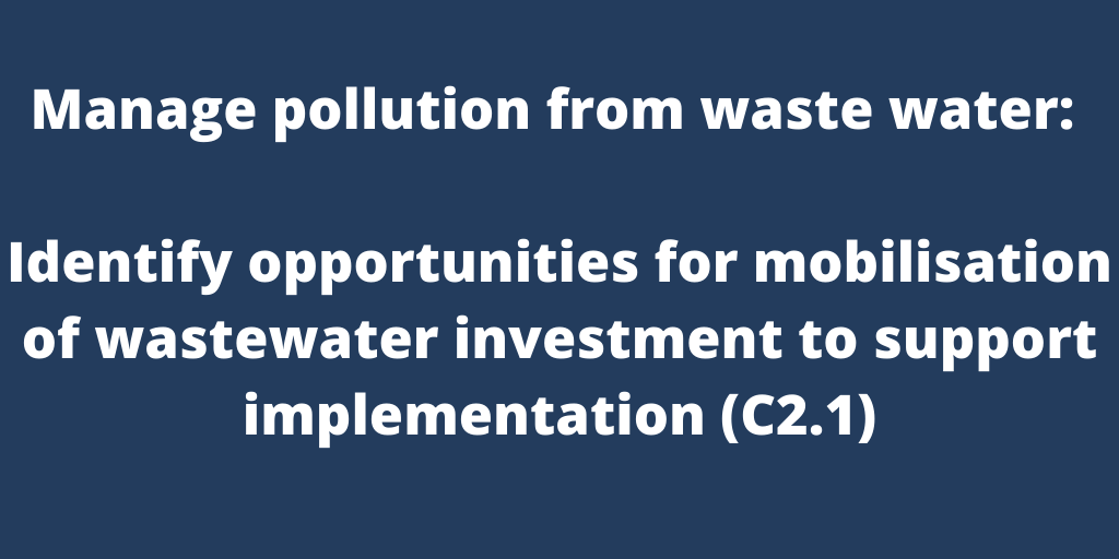 Manage pollution from waste water: Identify opportunities for mobilisation of wastewater investment to support implementation